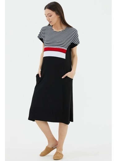 Sementa Çizgi Kombinli Cepli Elbise - Siyah Siyah